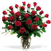 Perfect 2 dozen RED Roses very premium long stem roses in a clear base, greens and white fillers special Roses Arrangement for Valentine and Romance for an exigent lady... We have a complete Online Flowers Selection for Anniversary, Birthday, Romance, Get well soon, New born, Funeral, Sympathy, Thanksgiving, Christmas, Mother's day, Father's day, Secretary, Boss, Easter, Spring and our fantastic Miami Tropical and Exotic flowers arrangements